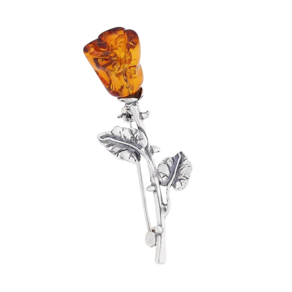 MILENA Brooch Silver and Amber Rose