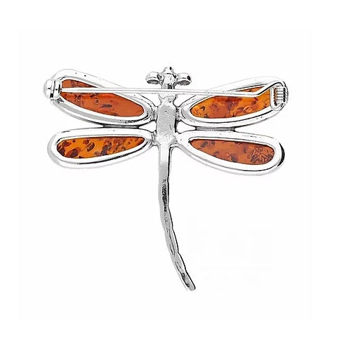 MILENA Brooch Silver and Amber Multicolor Dragonfly