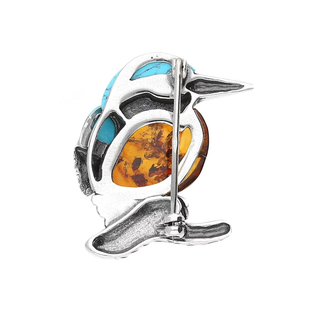 MILENA Brooch Silver Amber and Turquoise Kingfisher