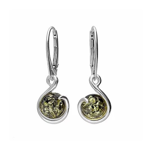 MILENA drop earrings Silver and Green Amber Round