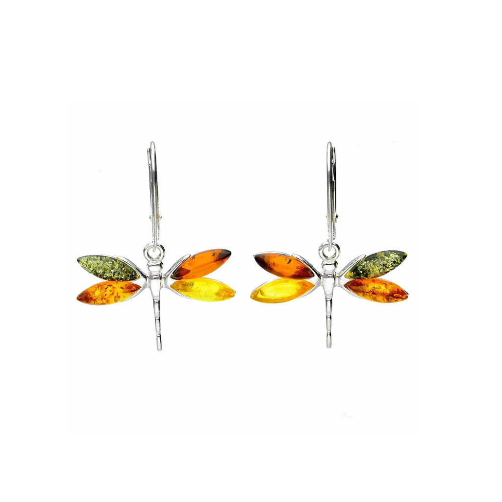 MILENA earrings Silver and Multicolor Amber Dragonfly