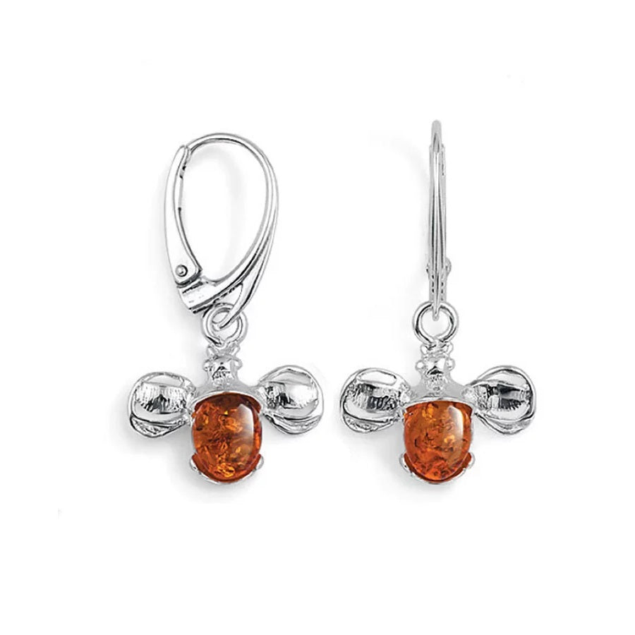 MILENA earrings Drop Silver and Amber Bumble Bee