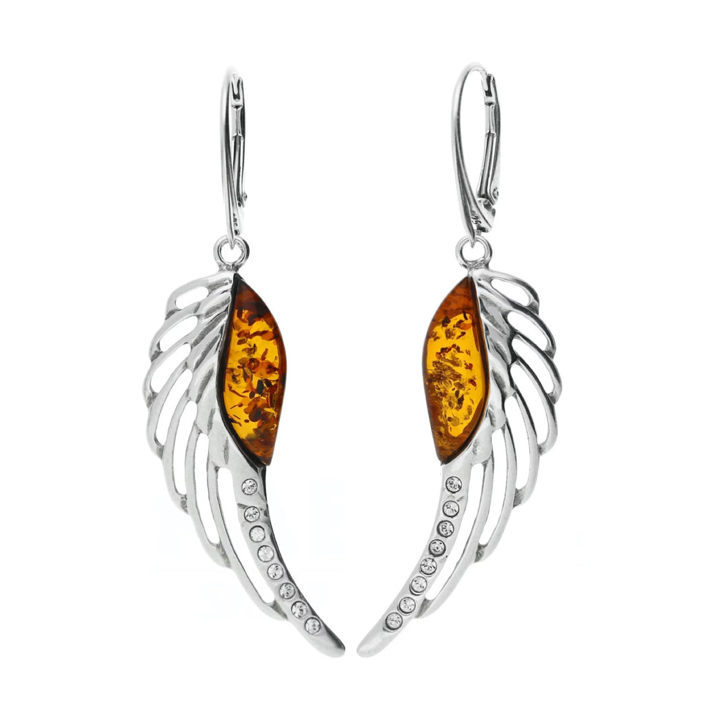 MILENA earrings Silver and Amber Angel Wings