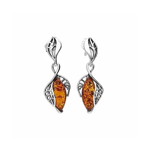 MILENA earrings Silver and Amber Leaf