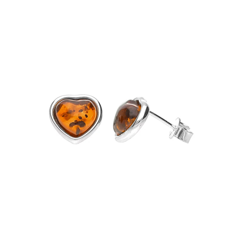 MILENA earrings stud Silver and Amber Heart