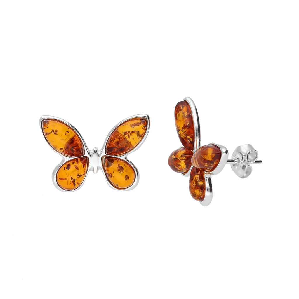 MILENA stud earrings Silver and Amber Butterfly