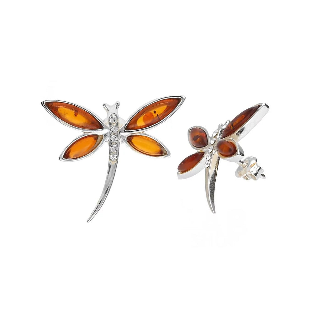 MILENA earrings stud Silver and Amber Dragonfly
