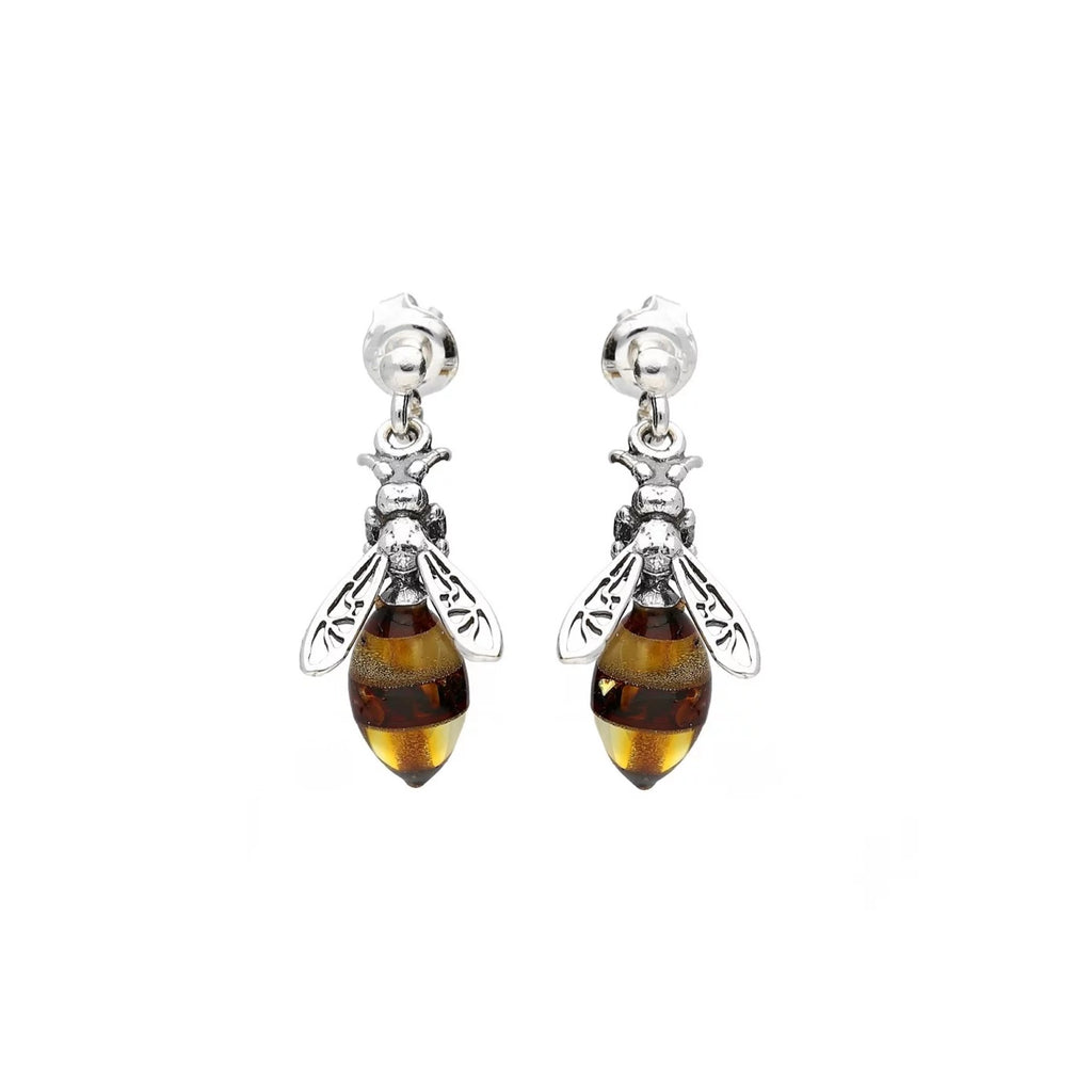MILENA earrings Silver and Amber Bee