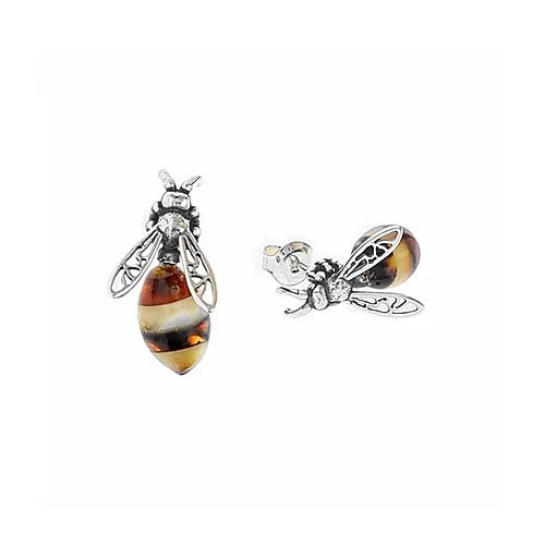 MILENA stud earrings Silver and Amber small Bee