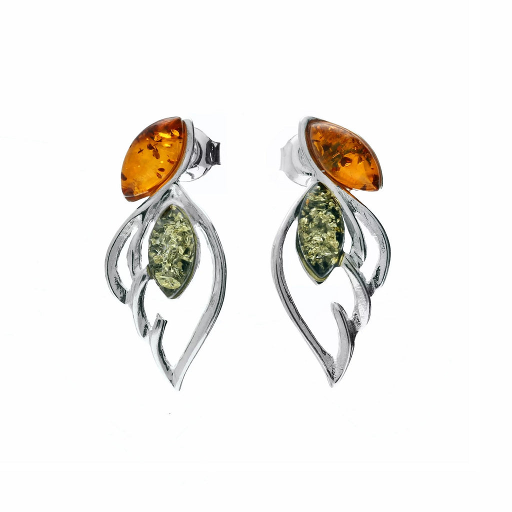 MILENA earrings Silver and Multicolor Amber Wings