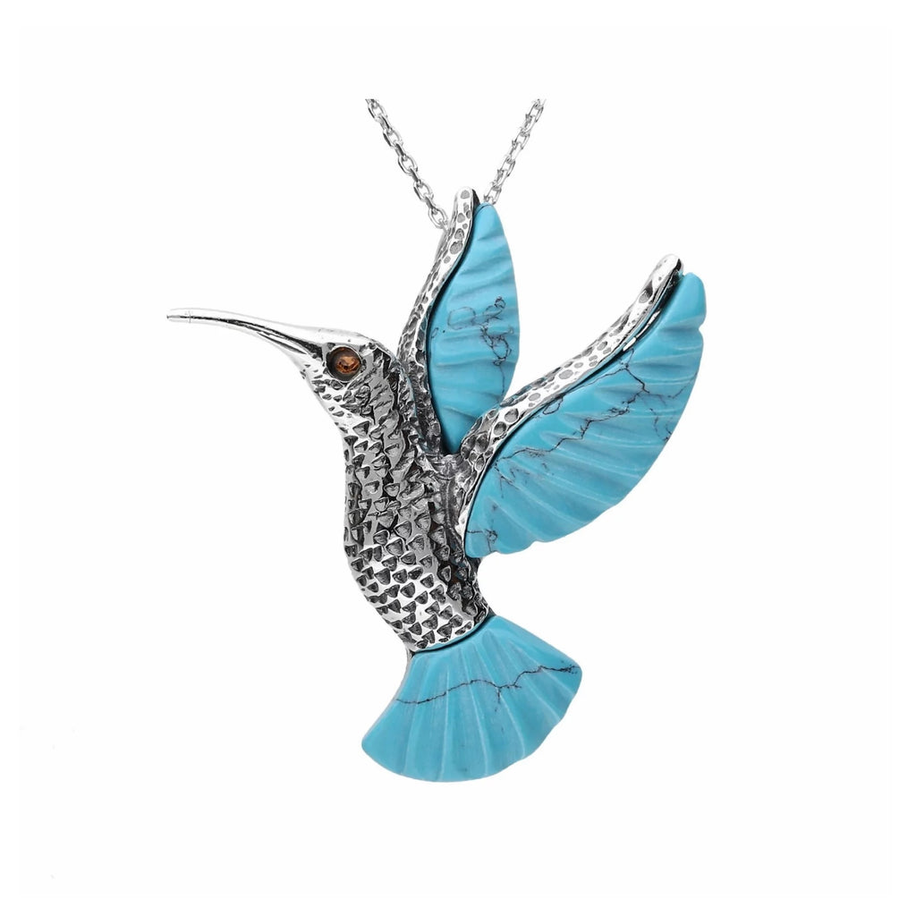 MILENA necklace Silver and Turquoise Hummingbird