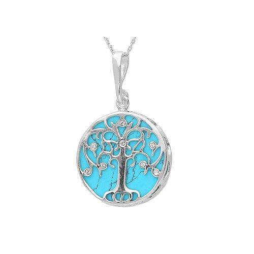 MILENA necklace Silver and Turquoise Tree of Life