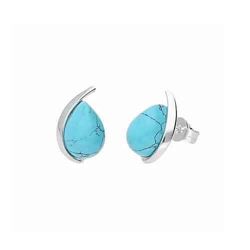 MILENA stud earrings Silver and Turquoise Elegant