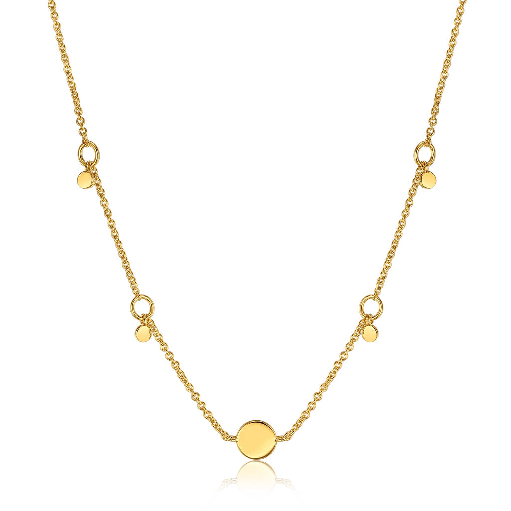 Ania Haie Geometry Drop Discs Necklace Gold Plated