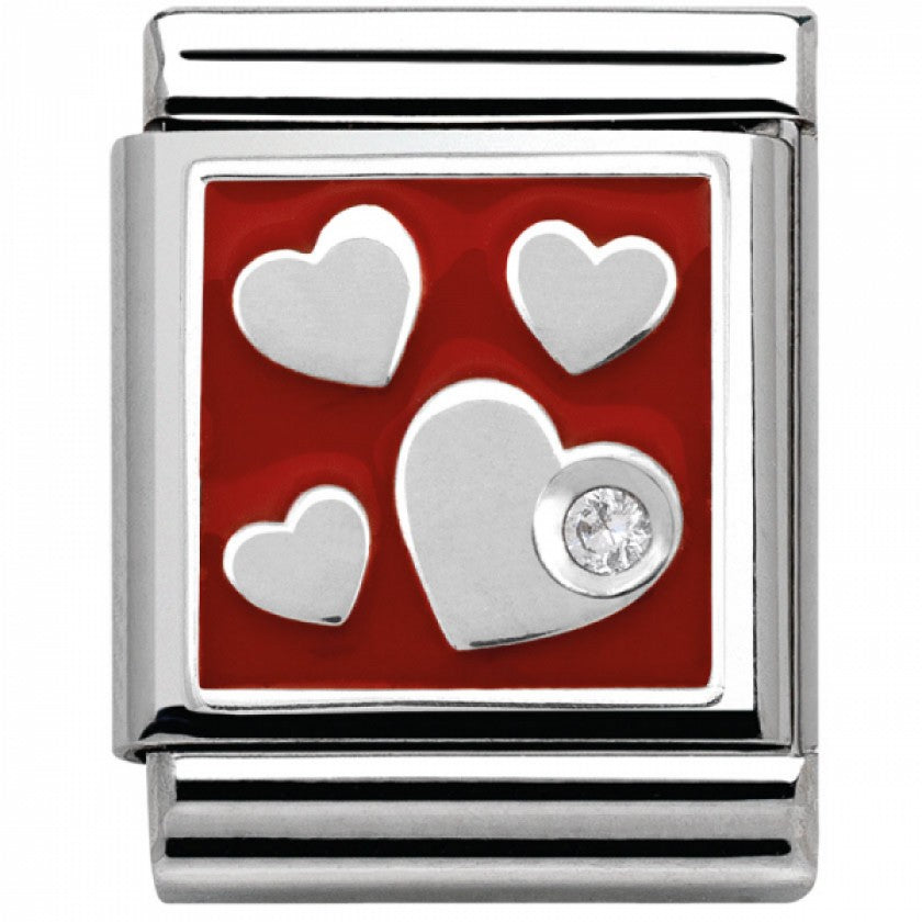 NOMINATION Charm BIG Silver with Enamel and CZ 4 Hearts