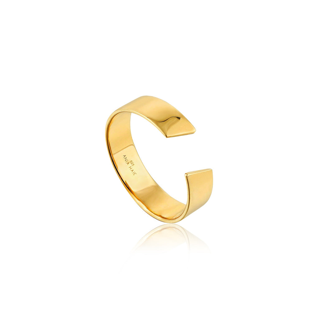 Ania Haie Geometry Wide Adjustable Ring Gold Plated