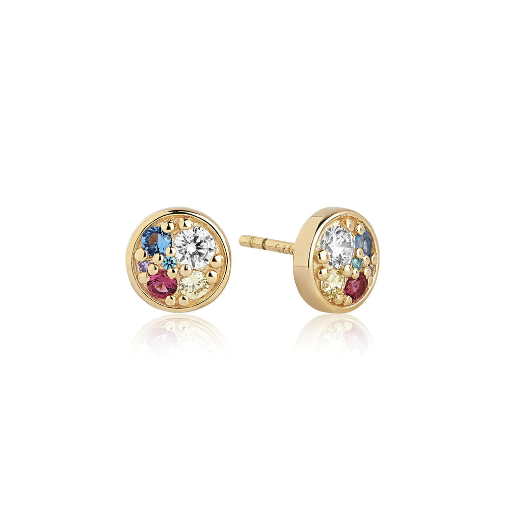 Sif Jakobs Gold Plated Silver and Multicolored CZ Novara Piccolo Stud Earrings
