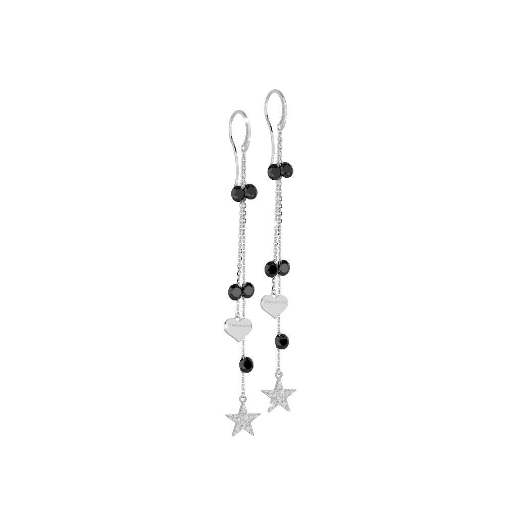 Rebecca Silver Lucciole Black Earrings