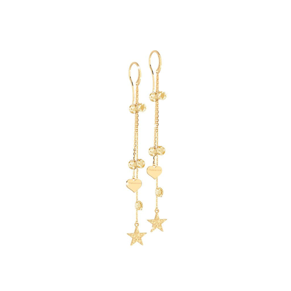 Rebecca Silver Gold Plated Lucciole Champagne Earrings
