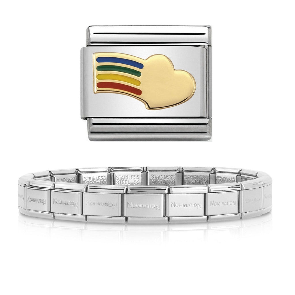NOMINATION Starter Bracelet 18ct Gold and Enamel Rainbow Heart