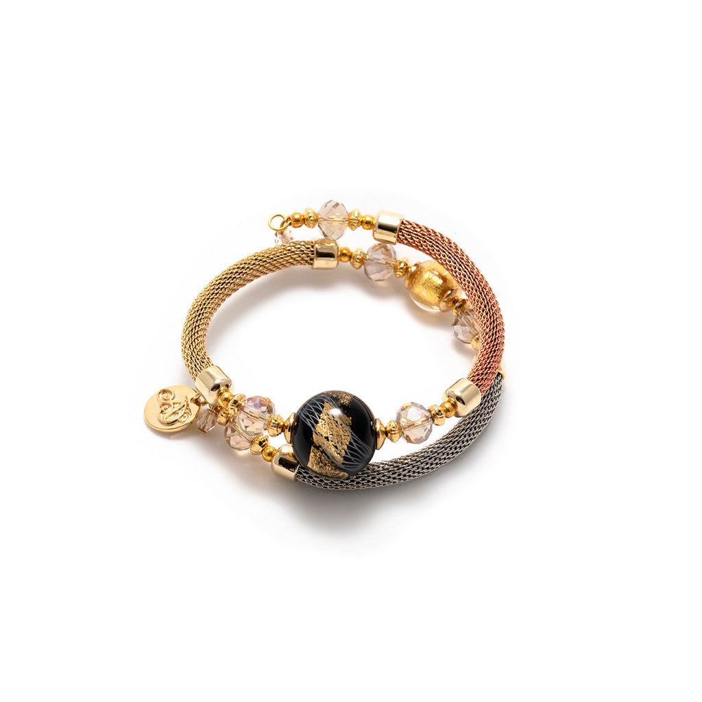 Vaccari Venezia Bracelet Black and Gold