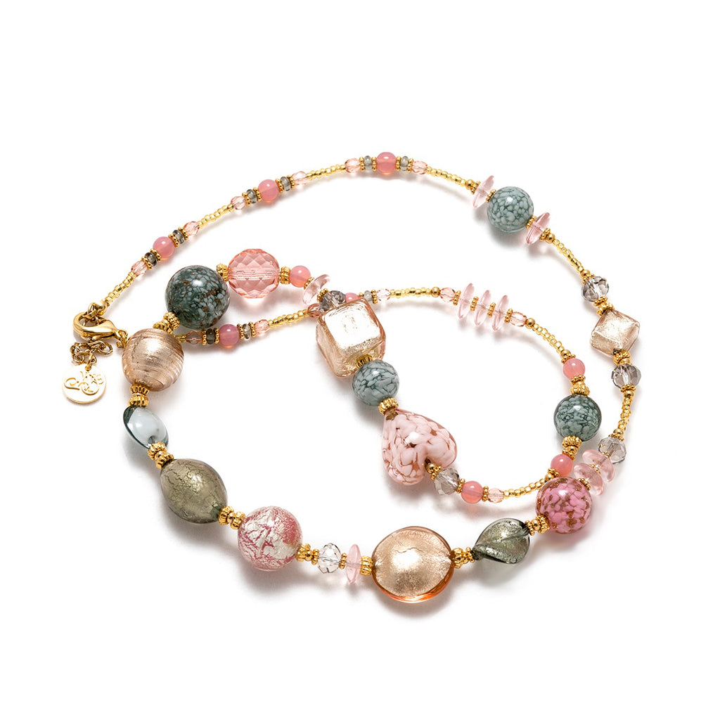 Vaccari Venezia Necklace Pink and Grey Glass Beads