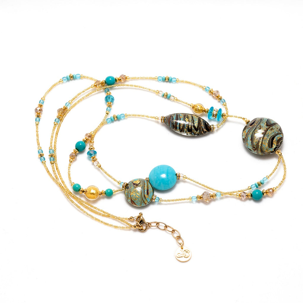 Vaccari Venezia Long Necklace Light Blue and Gold Glass Beads
