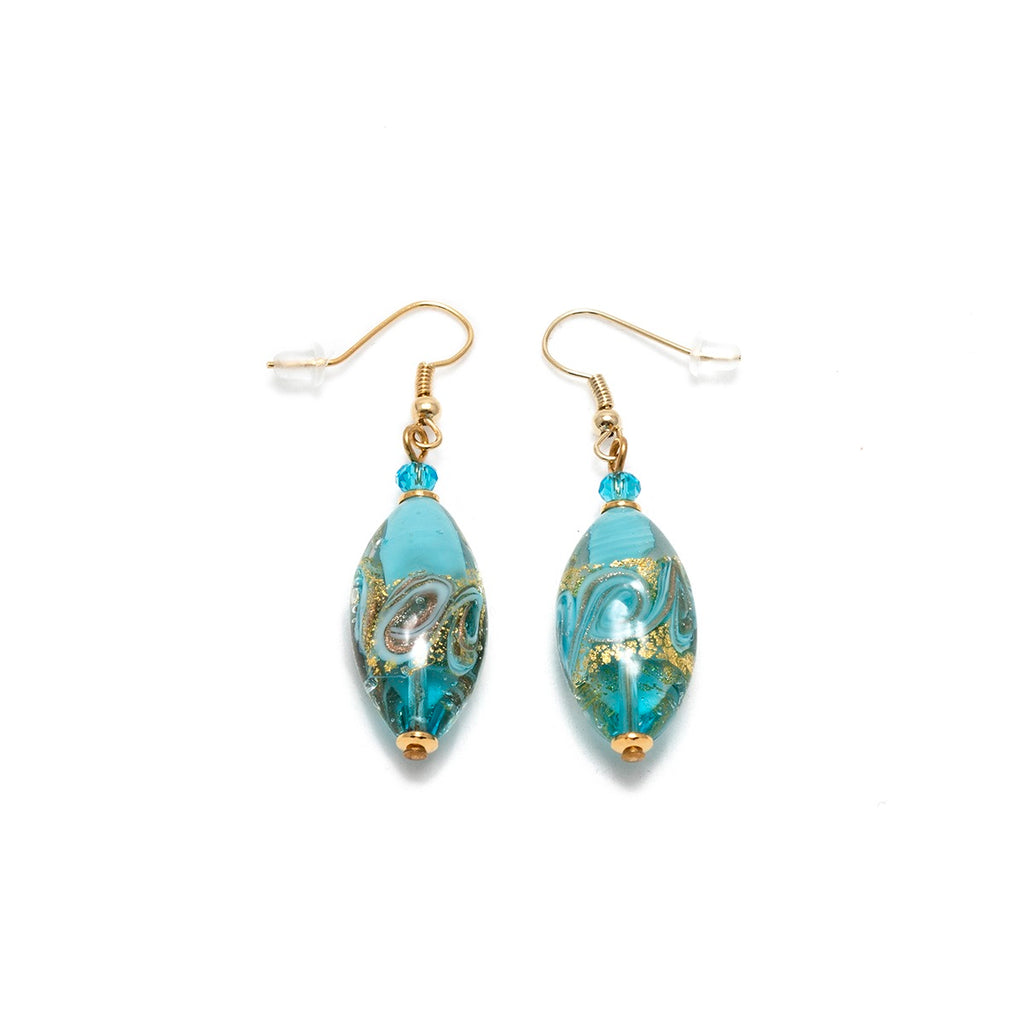 Vaccari Venezia Earrings Oval Turquoise and Gold