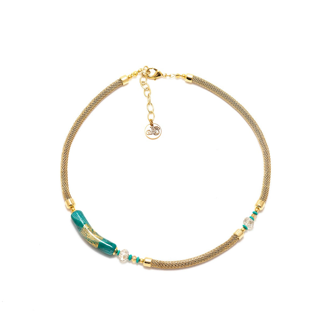 Vaccari Venezia Short Necklace Turquoise and Gold