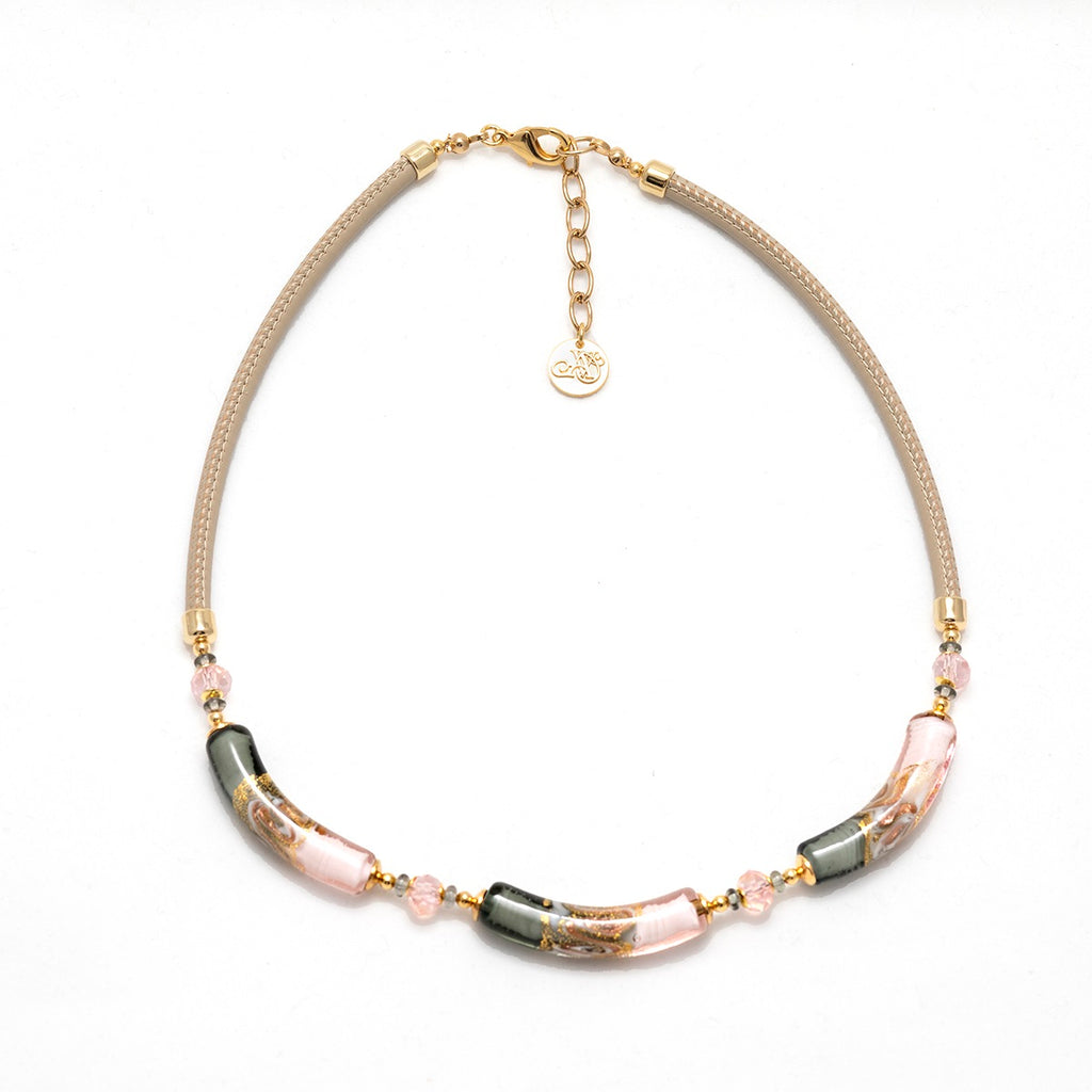 Vaccari Venezia Short Necklace Pink and Grey