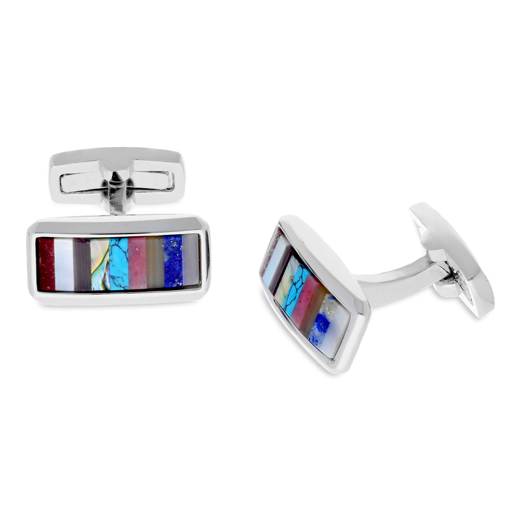 Duncan Walton Silver Cufflinks Striped Semi Precious Stones Multicolour