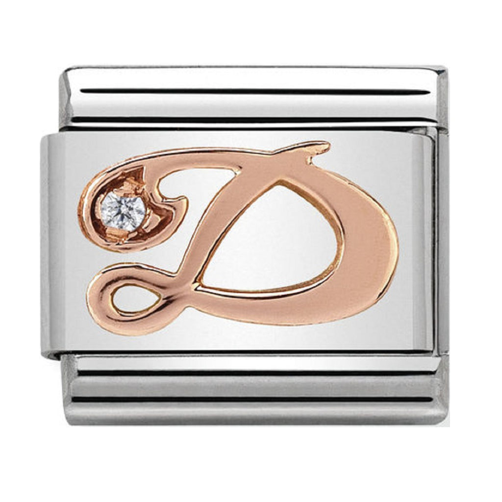 Nomination Link Rose Gold & Swarovski CZ Letter D