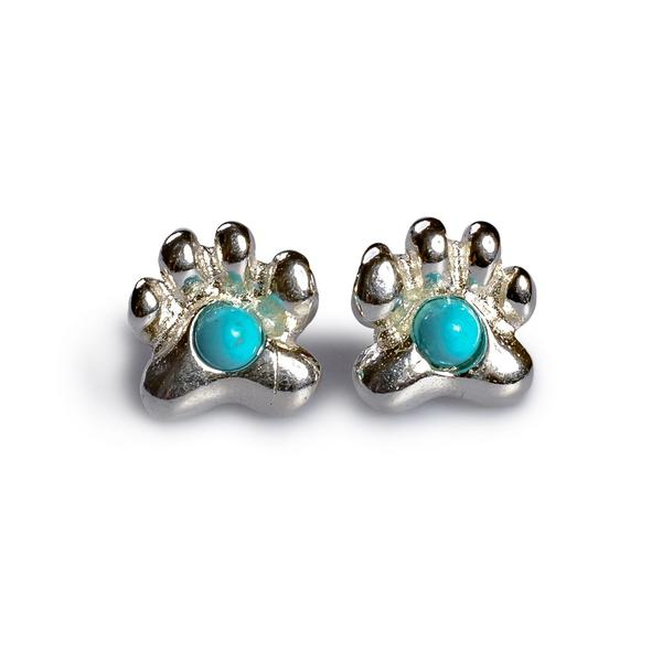 Henryka Silver and Turquoise Paw Print Stud Earrings