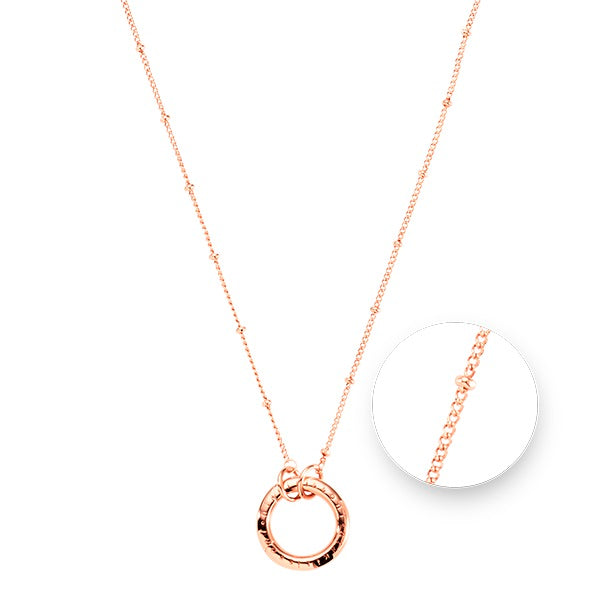 Nikki Lissoni Rose Gold Plated Ball and O-Ring Necklace 37cm