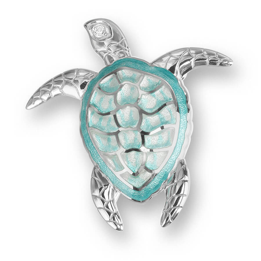 Nicole Barr Turtle Green with White Sapphire Brooch