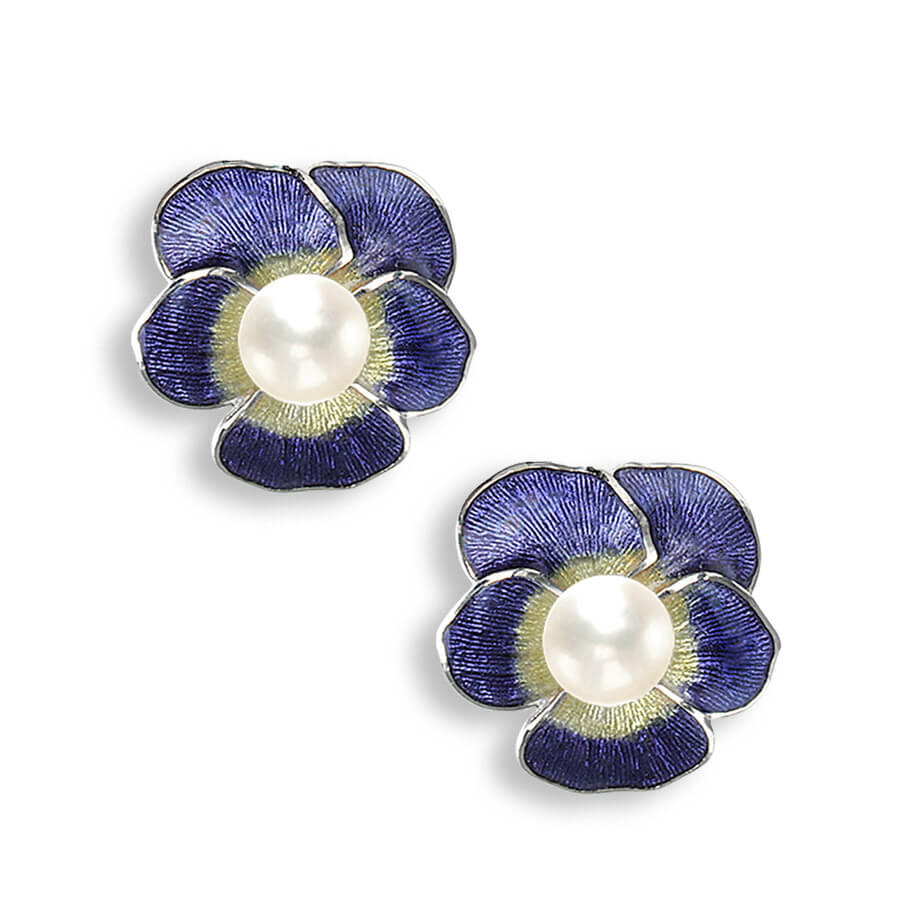 Nicole Barr Silver Pansy Purple and Pearl Earrings