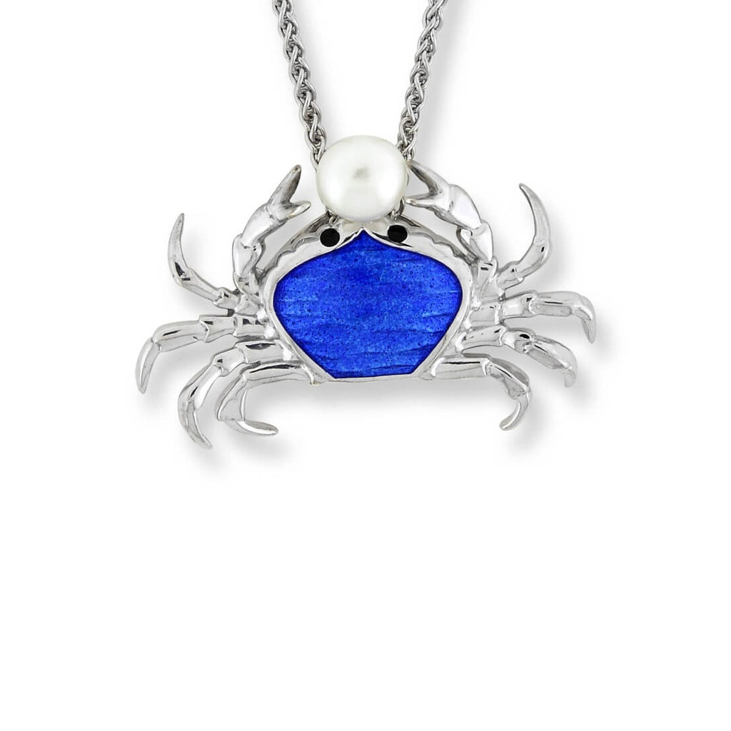 Nicole Barr Silver Crab Necklace Blue with Freshwater Pearl