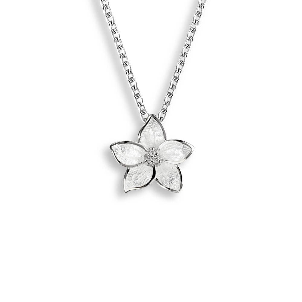 Nicole Barr Flower Necklace White with white sapphire