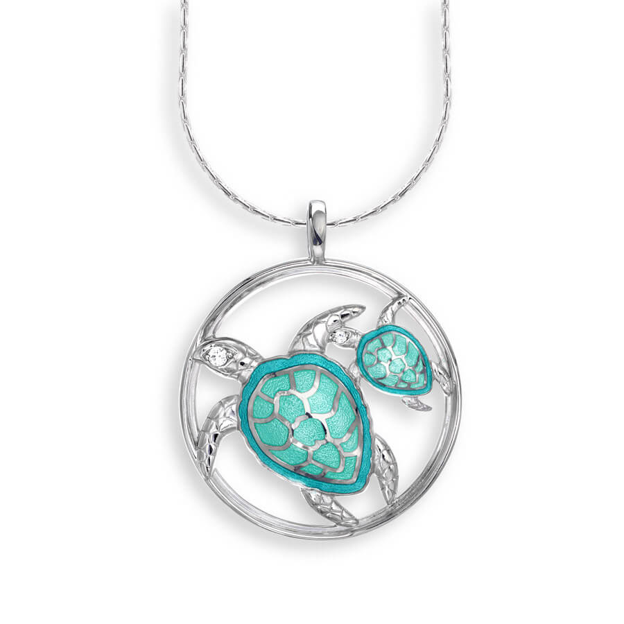 Nicole Barr Turtle with baby Necklace Turquoise