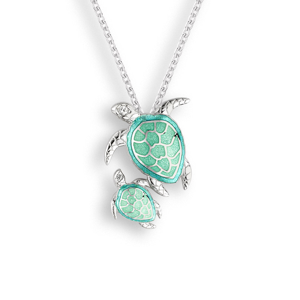 Nicole Barr Silver and White Sapphires Mother and Baby Turtles Green Necklace