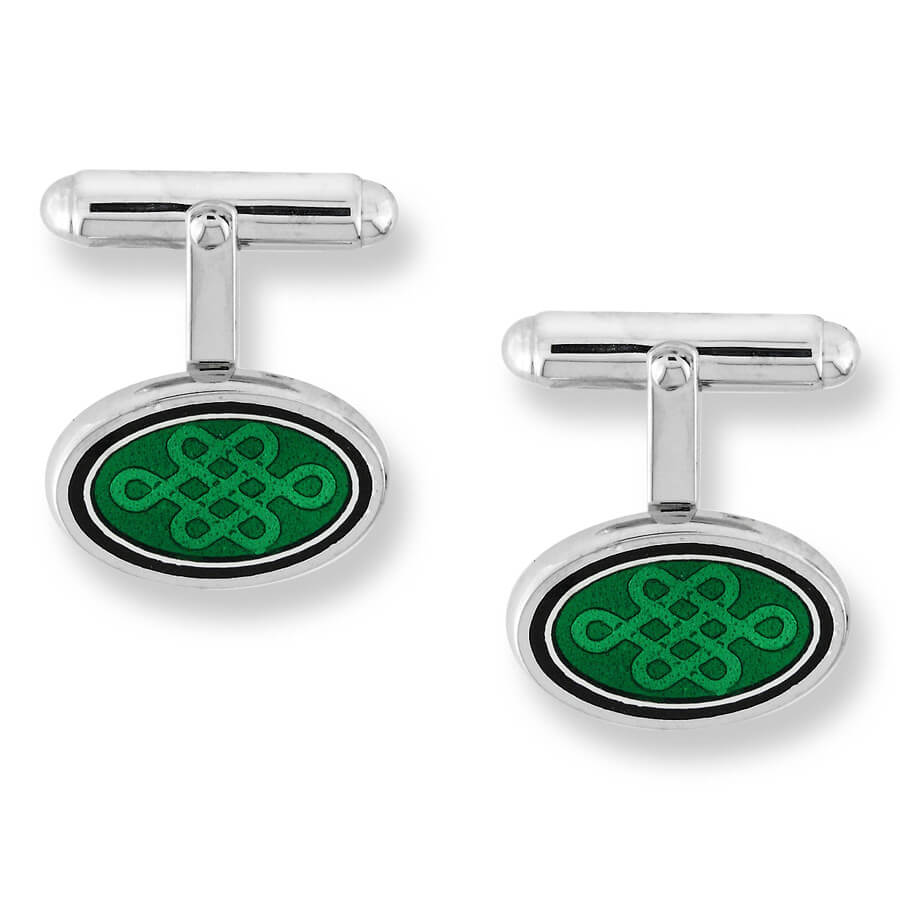Nicole Barr Silver Celtic Oval Green Cufflinks