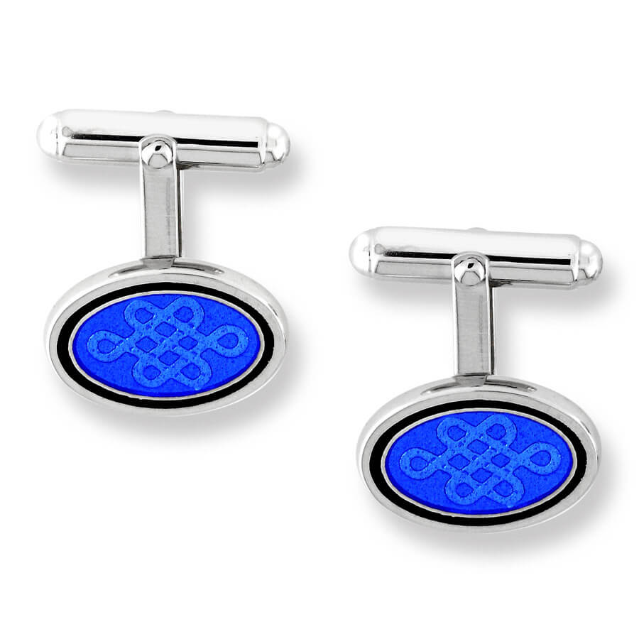 Nicole Barr Silver Celtic Oval Blue Cufflinks