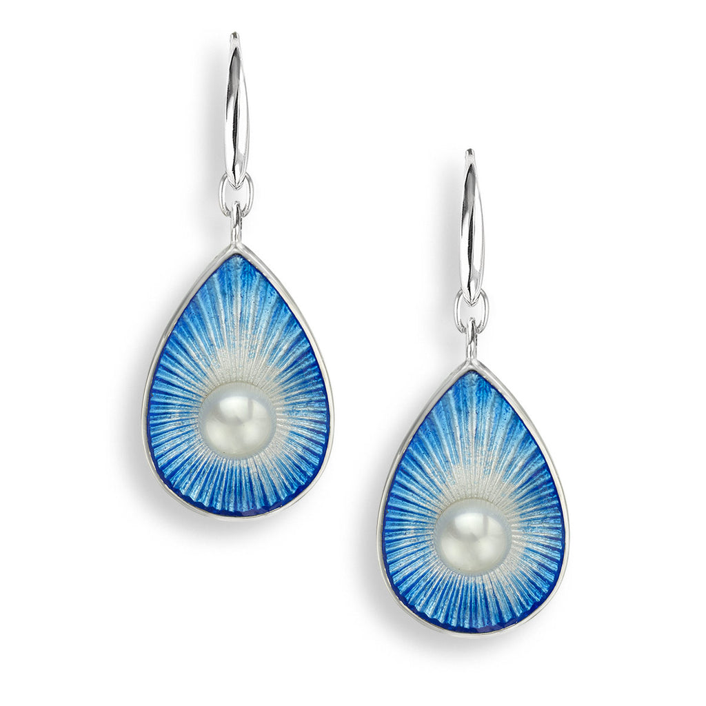Nicole Barr Sterling Silver Blue Teardrop Wire Earrings Pearl