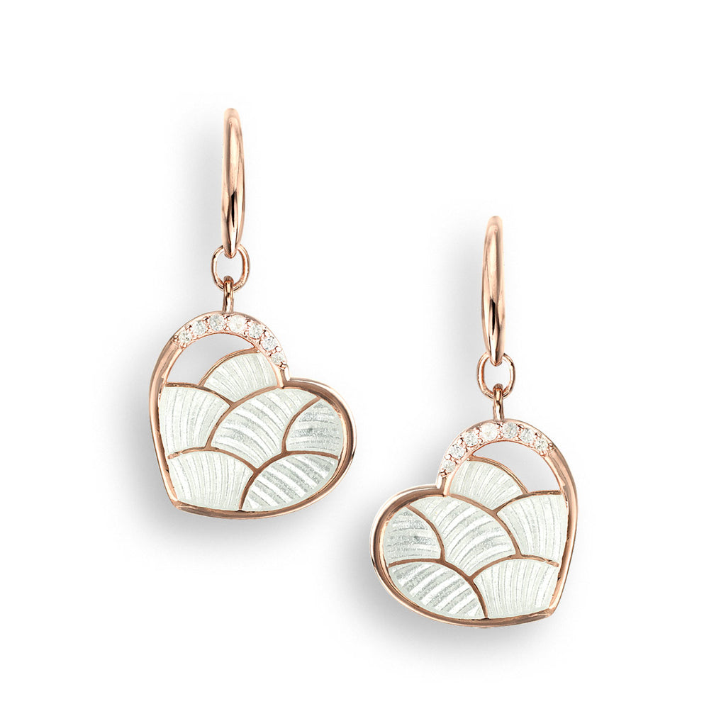 Nicole Barr Rose Gold Plated Sterling Silver White Heart Wire Earrings White Sapphire