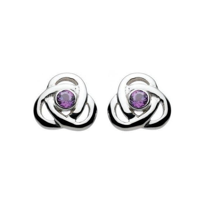 Kit Heath Silver and Amethyst CZ Oona Knot Stud Earrings