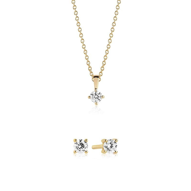 Sif Jakobs Gold Plated Silver and White CZ SET Princess Piccolo