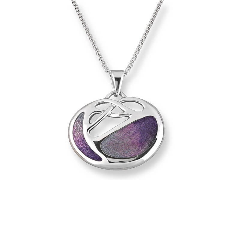 Nicole Barr Silver Art Nouveau Purple Necklace