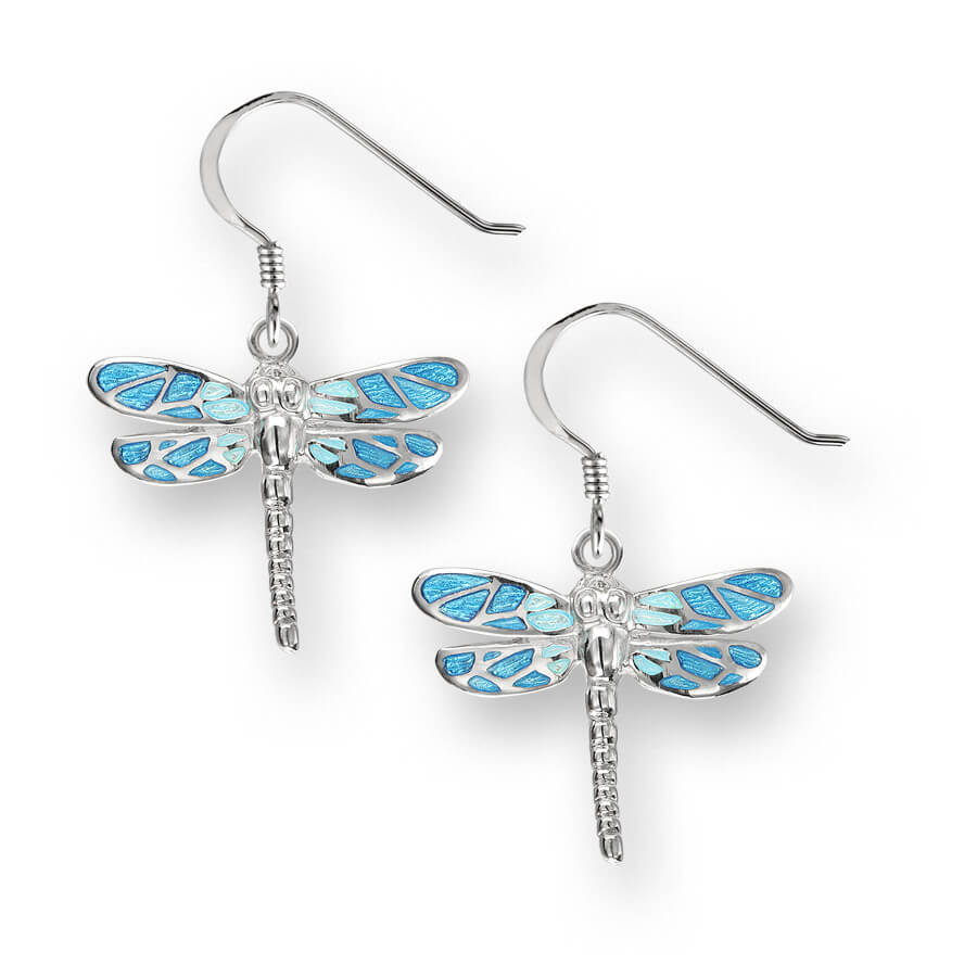 Nicole Barr Silver Dragonfly Blue Earrings