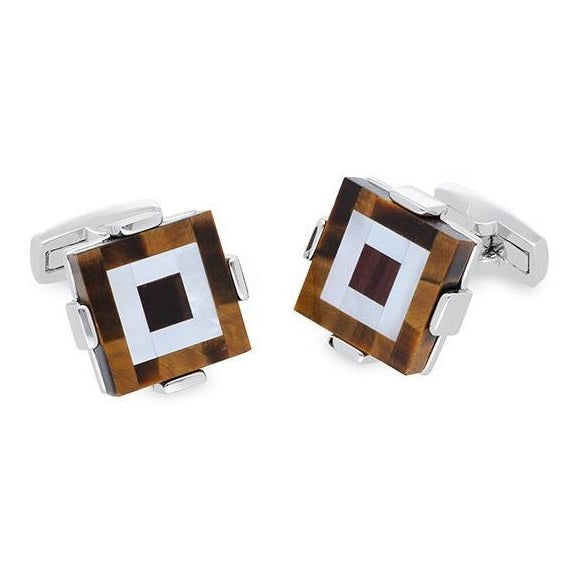 Duncan Walton Silver Cufflinks Keek - Brown Tiger Eye