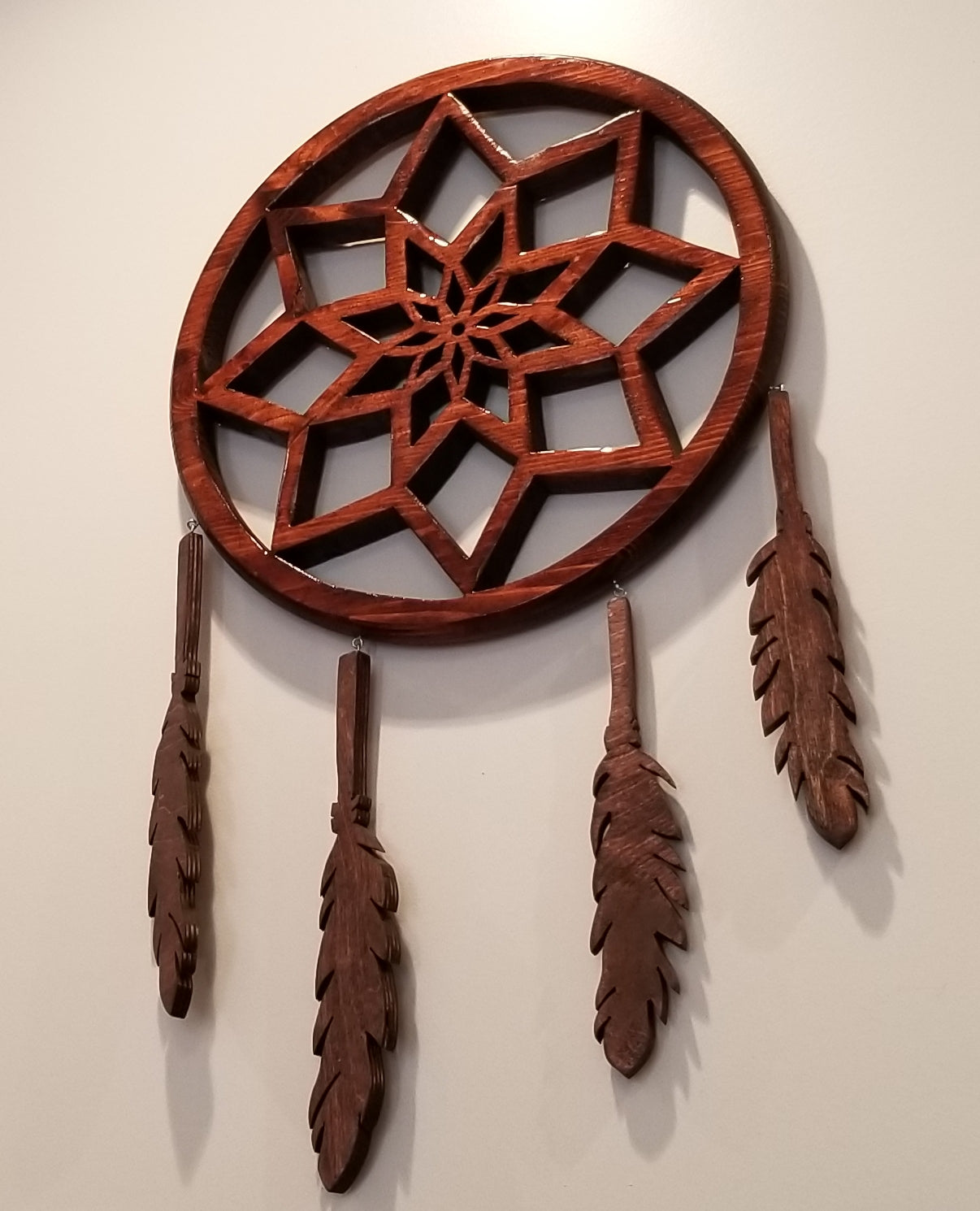 "Carved 14"" Wood dream catcher"